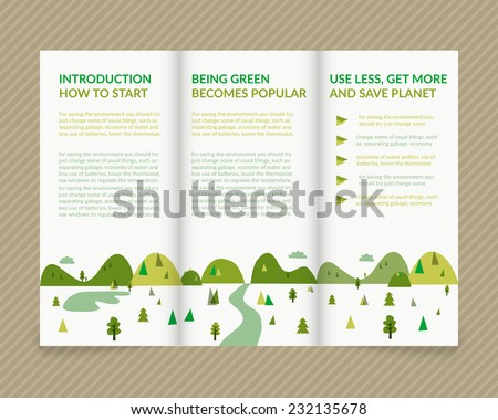 Template vector ecological light design for trifold brochure with green drawn landscape. Editable, bright. Proportionally for A4 size - stock vector