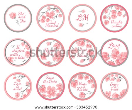 Template vector greeting labels for wedding gift for guest with cherry sakura flowers - stock vector