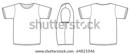 Template vector illustration of a blank basic T-shirt. All objects and details are isolated. Colors and transparent background color are easy to adjust/customize. - stock vector