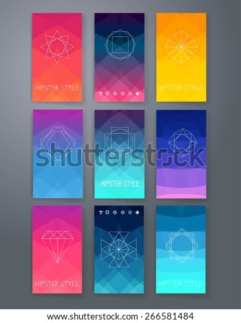 Template. Vector set of emblems. Abstract hipster logo templates. Triangle background. - stock vector