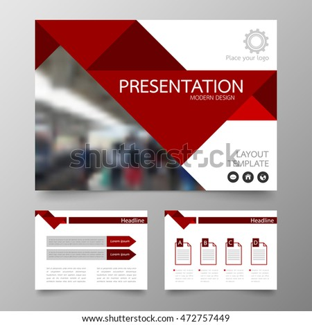 Template Vector Triangle Red Set Brochure Stock Vector - Horizontal brochure template