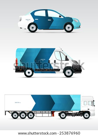 Template vehicle for advertising, branding or corporate identity. Passenger car, truck, bus. - stock vector