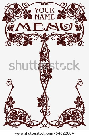 Template vintage designs of menu and business card for cafe and restaurant  (on the basis of antique labels) - stock vector