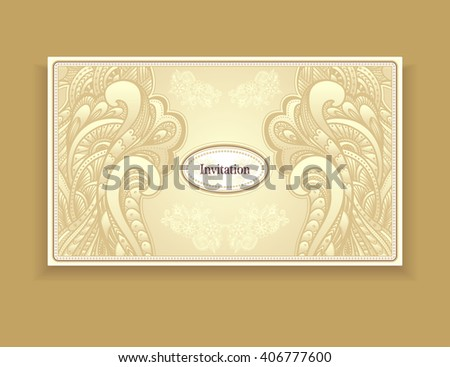 Template vintage invitation zen doodle zen stock vector 406777600 template vintage invitation with zen doodle or zen tangle style ornament in gold colors for wedding stopboris Images
