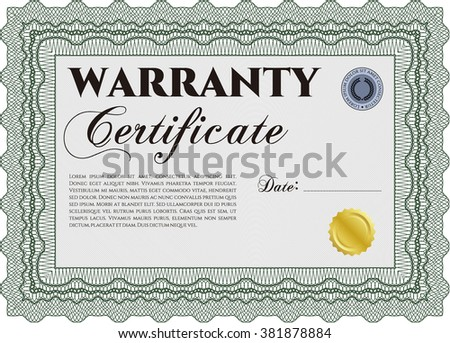 Template Warranty certificate. Border, frame. Superior design. With quality background.  - stock vector