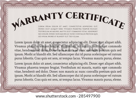 Template Warranty certificate. It includes background. Complex border design. Very Detailed.