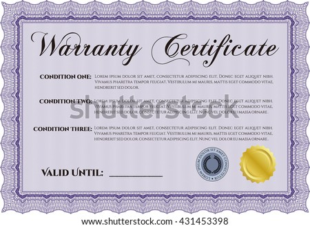 Template warranty certificate background complex frame stock vector template warranty certificate superior design with quality background border frame yadclub Choice Image