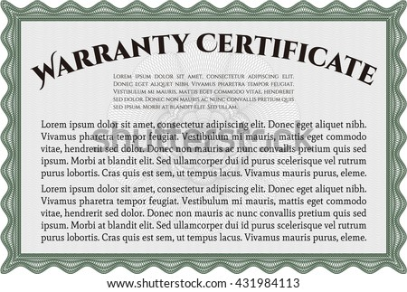 Template Warranty certificate. With quality background. Superior design. Border, frame.