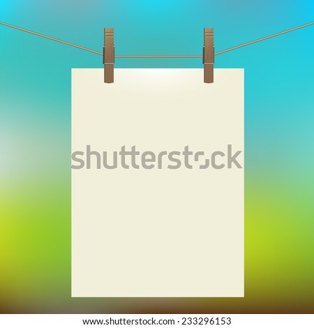 template white bumani hanging on clothespins for your business, illustration, poster, vector