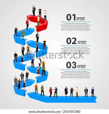 Template with a crowd of business people standing in a line. - stock vector