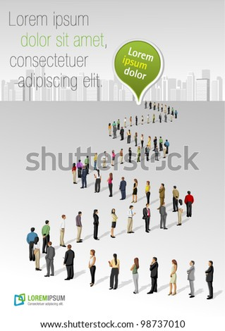 Template with a crowd of business people standing in a line - stock vector