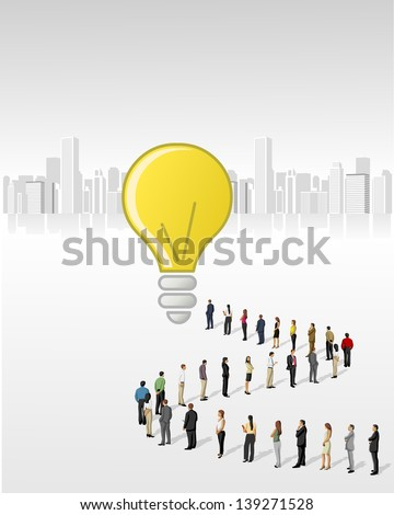 Template with a crowd of business people standing in a line to reach a money bag - stock vector