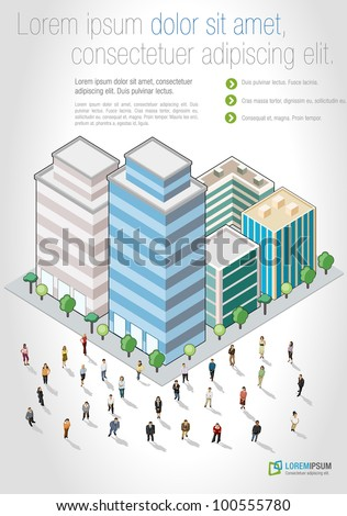 Template with business people in front of a isometric city