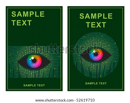 Template with concept illustration of human vision and digital technologies. - stock vector