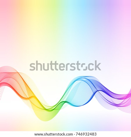 Template with Gradient Rainbow Wave Line for your Text, Information, Publishing. Abstract Transparent Smooth Wavy Horizontal Curved Line on Light Colored Background.