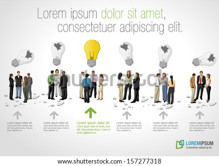Template with groups of business people thinking. Light bulb idea. - stock vector