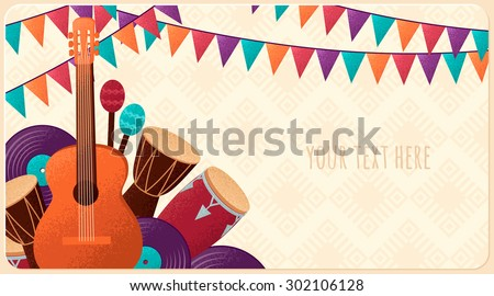 Template with guitar, percussion and conga drums, maracas, vinyl records and flags. Design for card, flyer, invitation or banner. Place for your text  - stock vector