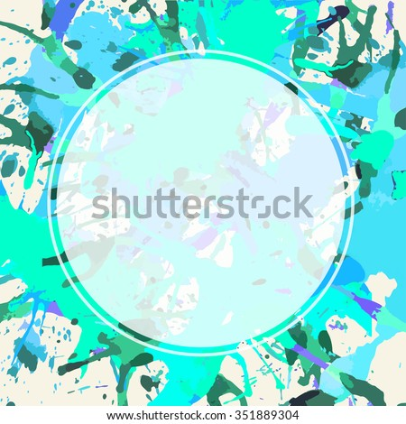 Template with semi transparent white circle over bright green colorful