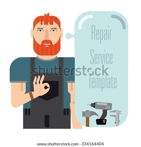 """Template with speech bubble master. It contains working with a smile and a hand. Master's hand showing """"OK"""". There are speech bubble for inscriptions and tools. - stock vector"""