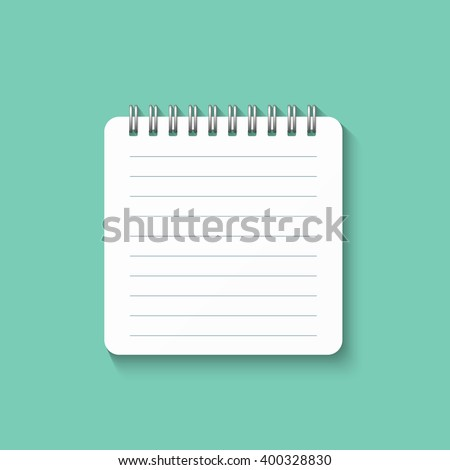 Template With Spiral Notebook Isolated On A Green Background School Diary For Business