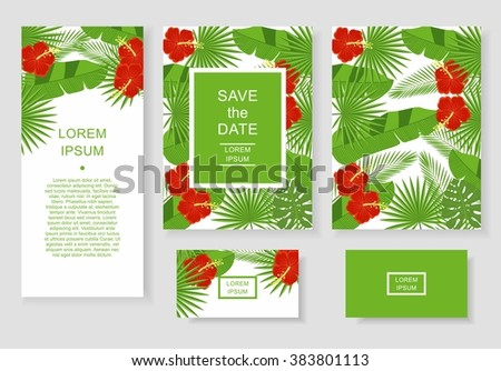 template with tropical flowers and leaves pattern flyer invitation flyer business card