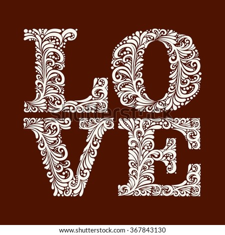 Template word love in an elegant Baroque style - stock vector
