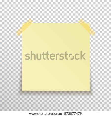 Template Yellow Sticky Note Sticky Tape Stock Vector