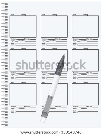 Template Script Storyboard Vector Illustration Stock Vector