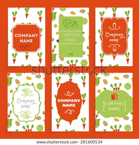 Templates cards with labels. Labels classical forms. Maps are colored in a pattern of stylized vegetables.