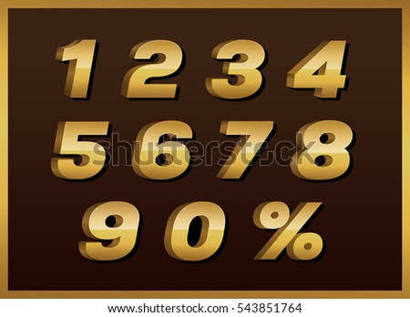 Numbers Colourful Set Vintage Style Vector Stock Vector ...