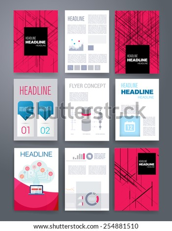 Collection business headlines templates set abstract stock for Web brochure templates