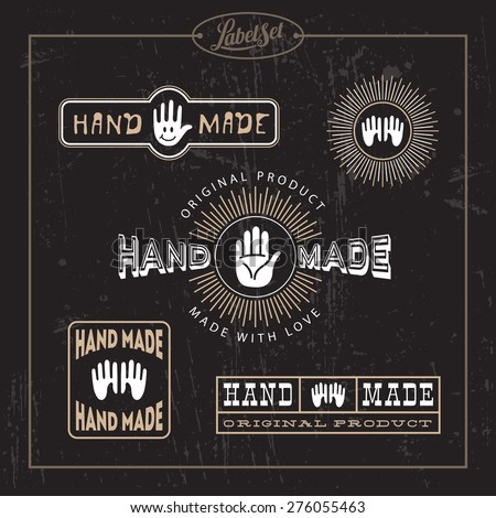 Templates for badges, labels, tags for hand made product. Set 8. Vector illustration.