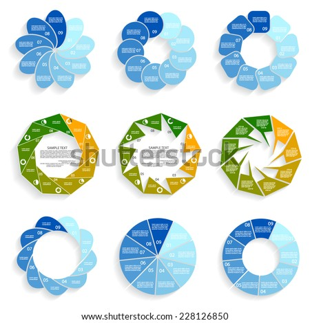 Templates for diagram and presentation, nine steps of process - stock vector