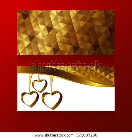 Templates for greeting cards design with gold triangle texture and dangling golden heart-shape rings. - stock vector
