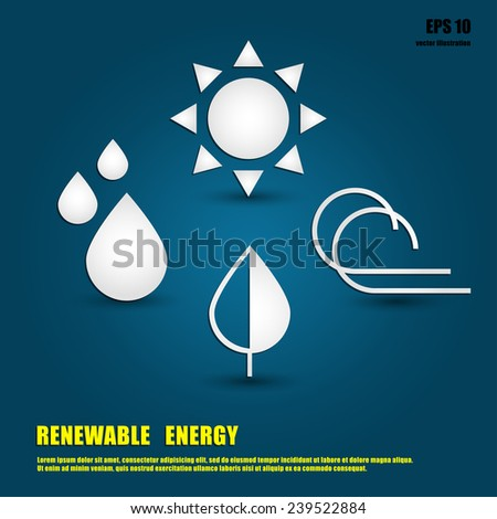 Templates for renewable energy or ecology logos, emblems or cards - stock vector