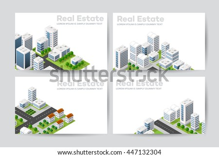Templates of business cards for real estate agencies, city portals, construction firms and design presentations - stock vector