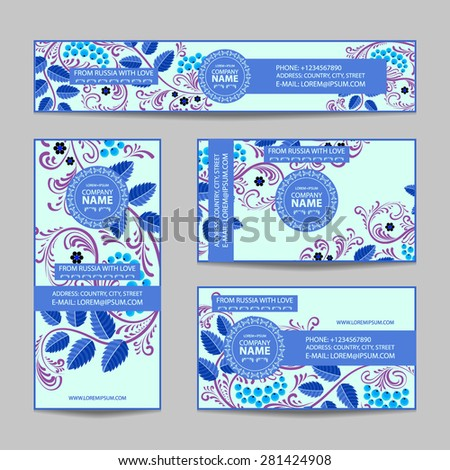 Templates of corporate Identity set with Russian folk pattern. Natural ornament. Blue color.