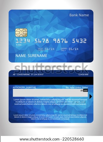 templates of credit cards design with a polygon background isolated vector