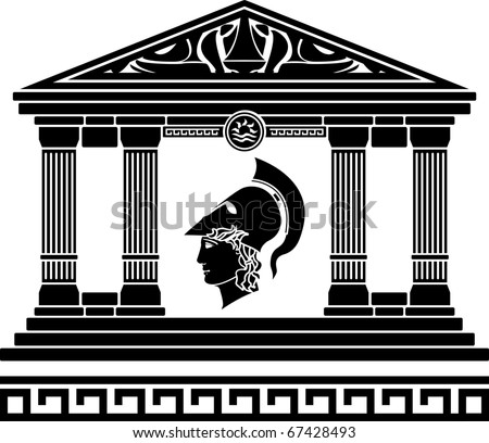 temple of alexander the great. stencil. vector illustration - stock vector