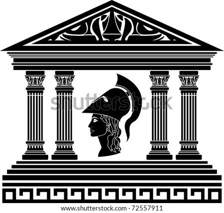 temple of Athena. stencil. vector illustration - stock vector