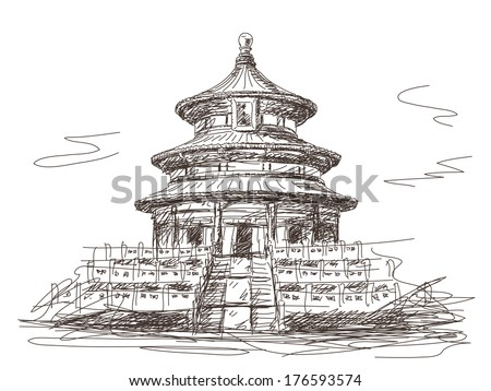 Temple of Heaven in Beijing Vector sketch - stock vector