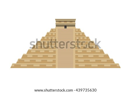 Temple of Kukulkan (El Castillo) vector flat illustration. Mayan pyramid. Chichen Itza. Yucatan, Mexico - stock vector