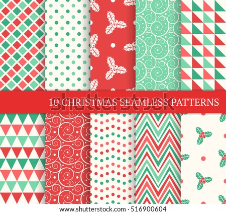 Ten Christmas different seamless patterns. Xmas endless texture for wallpaper, web page background, wrapping paper and etc. Retro style. Swirl, christmas holly leaves and berries