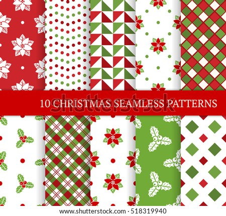 Ten Christmas different seamless patterns. Xmas endless texture for wallpaper, web page background, wrapping paper and etc. Retro style. Square, circle, christmas holly leaves and berries, poinsettia