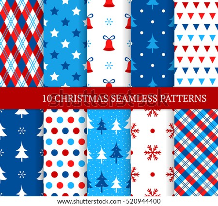 Ten Christmas different seamless patterns. Xmas endless texture for wallpaper, web page background, wrapping paper and etc. Retro style. Bells, snowflakes, christmas trees and etc
