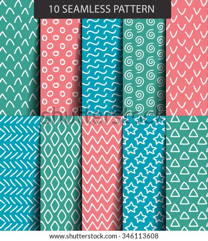 Ten color seamless geometric patterns