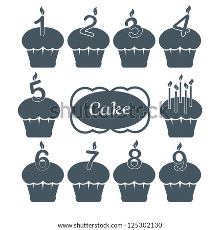 Ten cupcake set with candles: one, two, three, four, five, six, seven, eight and nine years - stock vector