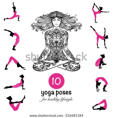 Ten essential yoga poses and techniques for healthy lifestyle pictograms composition banner black pink abstract vector illustration - stock vector