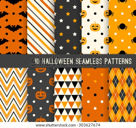 Ten Halloween different seamless patterns. Endless texture for wallpaper, web page background, wrapping paper and etc. Retro style.  - stock vector