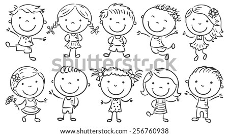 Ten happy cartoon kids, black and white outline - stock vector